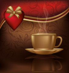 Love card with coffee and heart, vector illustration