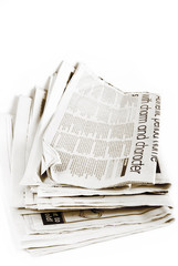 stack of newspapers isolated