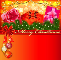 Christmas background with bow and gifts with Christmas tree bra