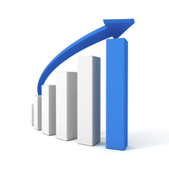 3d blue arrow and success bar chart graph