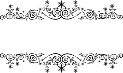 christmas black ornamental decoration with snowflakes