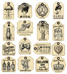 Fototapete - 16 french retro labels