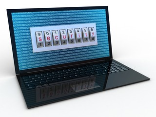 Safe laptop on white background, 3D images