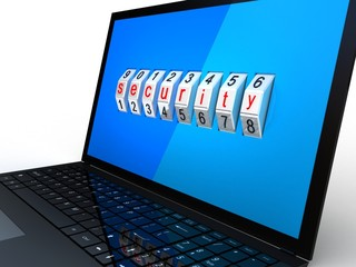 Safe laptop on white background, 3D images
