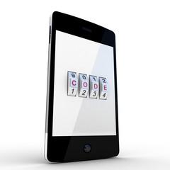 Safe  smartphone on white background, 3D images