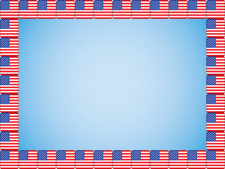 blue background with United States flag icons border