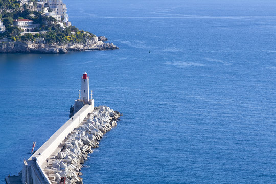 A french mediterranean port lighthouse