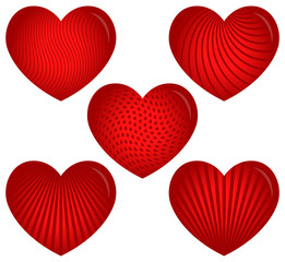 Five Designer Hearts with Patterns