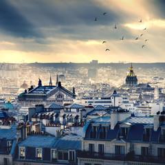 Fotorolgordijn Parijs Paris cityscape taken from Montmartre