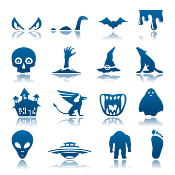 Mysterious and horror icon set
