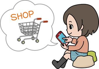 スマートフォンでネット通販する女性