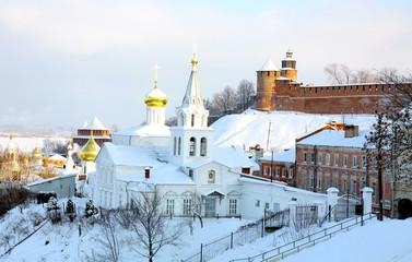 Panoramic January view Church Elijah Prophet and Kremlin
