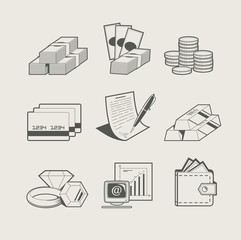 money and jewellery set of icon vector illustration