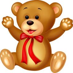 Keuken foto achterwand Beren Funny baby bear cartoon waving