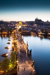 Poster Prague View of Vltava river with Charles bridge in Prague