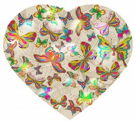Beautiful Valentine's background with heart and butterfly