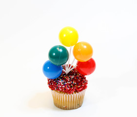 Cupcake with balloons