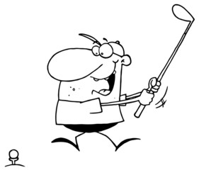 Outlined Male Golfer