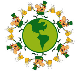 Circle Of Male Leprechauns Running Around A Globe With Beer