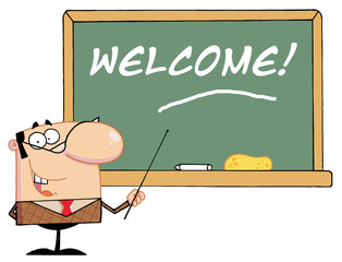 Teacher Pointing To A Welcome Chalkboard