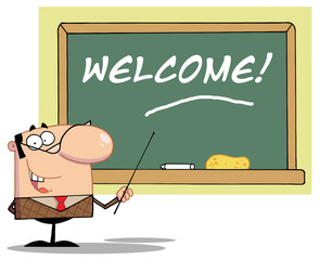 School Teacher Pointing To A Welcome Chalkboard