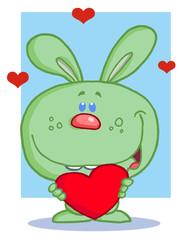 Happy Romantic Green Rabbit With Heart