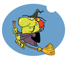 Happy Witch Rides Broom In Night