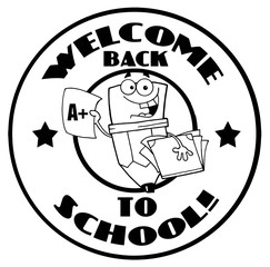 Black And White Welcome Back To School Pencil Circle