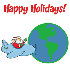 Santa Claus Flying His Plane Around The Globe