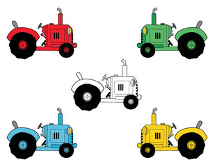 Collage Of Black And White, Red, Green, Blue And Yellow Tractors