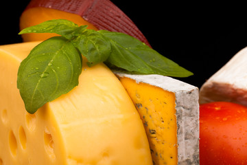 Various types of cheese isolated on black
