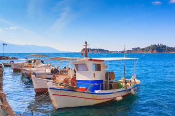 Greece Nafpactos port view at Monastiraki, central Greece