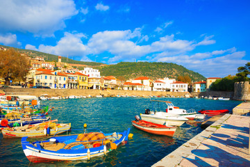 Greece, traditional fishing boats in main port of Nafpactos in C