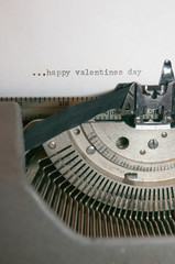 Happy valentines day typed on an old antique typewriter