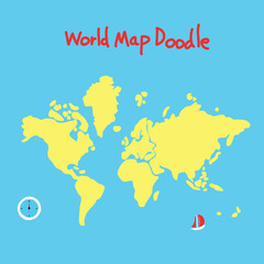 Autocollant pour porte Carte du monde world map doodle