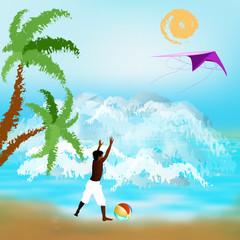 Happy rest on exotic sea resort.Children summer rest