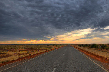 Lonely Outback Highway in Western Australia