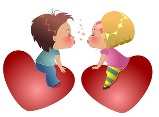 Двое детей сидят на сердцах