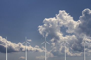 Wind turbines with sky and clouds on background