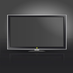 Realistic TV on black background. Vector design.