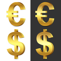Set of 3d gold glossy Euro & U.S. Dollar icon, symbol