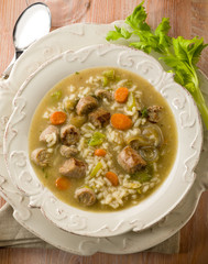 soup with rice and sausage