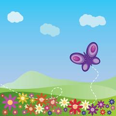 Zelfklevend Fotobehang Vlinders Summer landscape with butterfly