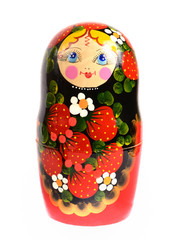 russian traditional toy doll matryoshka isolated