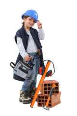 little girl dressed as a construction worker