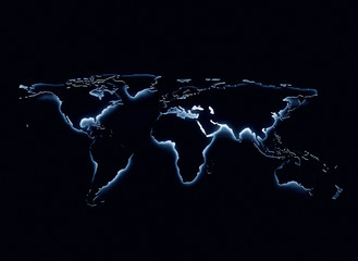 Foto op Aluminium Wereldkaart Blue glow world map