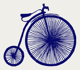 Penny farthing. Doodle style