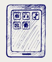 Digital tablet. Doodle style
