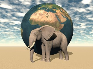 africa and earth and elephant
