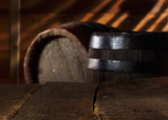 Closeup of a vintage table in a beer cellar